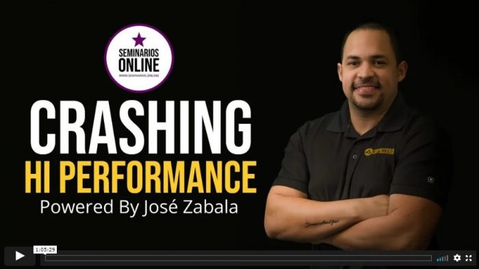 crashing hi performance powered by jose zabala
